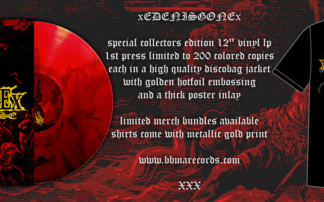 xEDENISGONEx  – special collectors edition 12″ vinyl lp with golden hotfoil embossing on cover, now available!